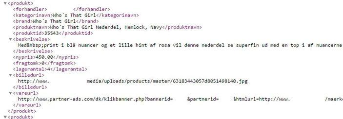 XML produkt feed